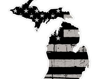 Michigan State (N23) Distressed Flag Vinyl Decal Sticker Car/Truck Laptop/Netbook Window