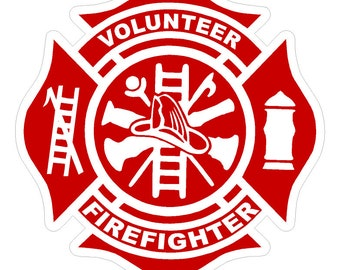 "Volunteer Firefighter (T31) Maltese Cross 4"" Vinyl Decal Sticker Car Window"