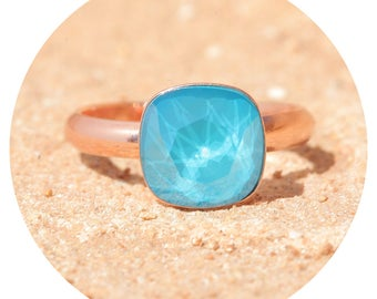 artjany azure blue ring rose gold
