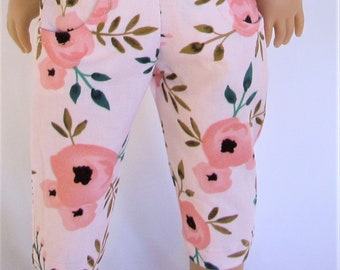 18 in doll clothes, cropped Spring and Summer pants, peach floral, for dolls like American Girl