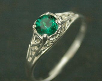 Emerald Ring~Cinderella~Lab Grown Emerald~May Birthstone Ring~Silver Engagement Ring~Promise Ring~Filigree Emerald Ring~Vintage Style Ring