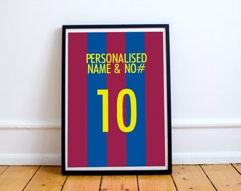 Barcelona FC - Customisable Name and Number Print.
