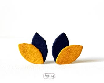 Earrings chips ° petals leather honey blue ° ° °
