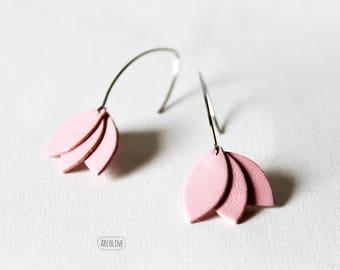 Earrings pink Lotus petals leather ° ° °