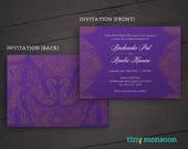 Royal Purple Indian Elephant DIY Wedding Invitation Suite