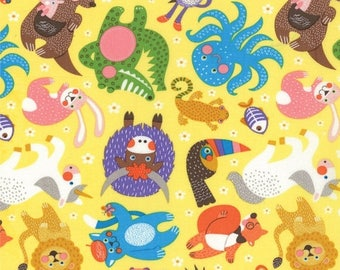 ON SALE ABC Menagerie in Yellow by Abi Hall for Moda Fabrics - 39521 13 - 1/2 Yard