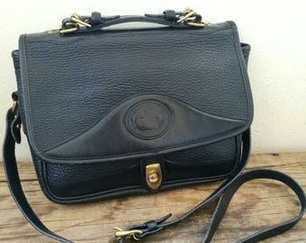 Vintage Dooney and Bourke shoulder bag Black x Black square large hand bag