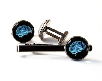 Medical jewellery Human brain Cuff links Tie clip Anatomy cufflinks Brain tie clip Doctor jewelry Gift for husband Anatomical Physician gift