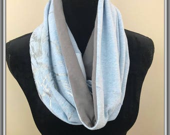 Flower Scarf, Blue Flower Scarf, Silver Threads Scarf, Comfy Cotton, Spring Infinity Scarf Upcycled Artsy T shirt Scarf Unique Gift