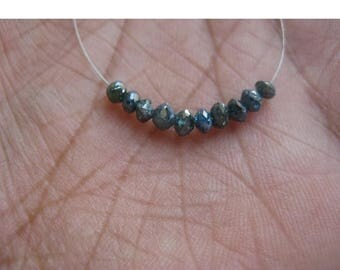 ON SALE 50% 2 Beads Blue Diamonds, Faceted Diamond Beads, Conflict Free Diamonds, Approx 3mm Each
