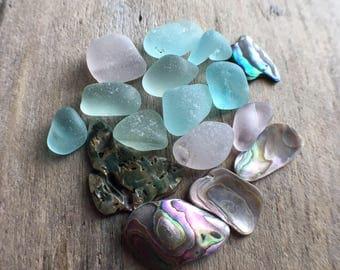 Abalone & Sea Glass Mix