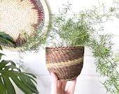 small Woven wicker Basket Planter • Bohemian • Boho Decor