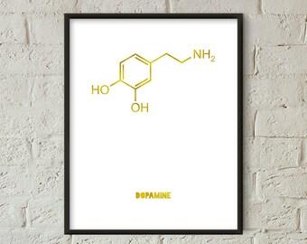 Dopamine Print Gold, Chemistry Print, Dopamine Wall Art Printable, Chemistry Print Gift, Bedroom Decor, Chemistry Poster (W0521)