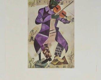 Original Marc Chagall Green Violinist Guggenheim Museum Exhibition Poster 1975