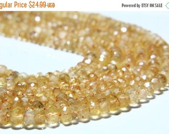 "65% OFF SALE 13"" Full Strand Natural Citrine Rondelles 4mm to 5mm Rondelle, Genuine Citrine Beads Drilled Gemstone Faceted Rondelle Beads"
