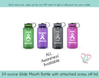 Awareness Water Bottle - 34 oz - Water Bottle - Cancer - Brain Tumor - Alzheimers - Disease Awareness - Illness Awareness
