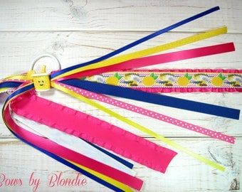 Handmade polymer clay Glitter Summer Lemonade Double Ruffle ponytail streamer!