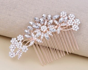 Bridal Hair Comb Rose Gold Decorative Crystal Combs For Wedding Headpiece Bridal Hair Piece Vintage Wedding Hair Accessories Bridesmaid Gift
