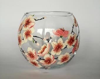 Mother in law Gift Hand Painted Glass Round Vase Spring Interior Decor Tabletop Mantle Cute Decor Cherry Blossom Decoration Sakura Design