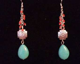Bead And Imitation Turquoise Earrings