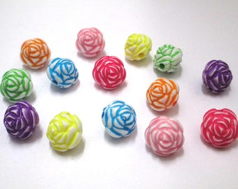14 pearls flower mix color acrylic 13mm
