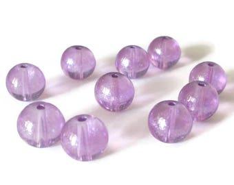 10 purple transparent beads shiny glass 10mm (P-23)