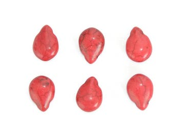 6 Pearl drops red 14x10mm turquoise