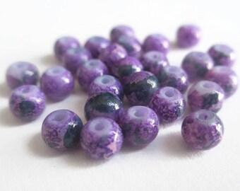 20 beads purple, green dark painted glass 4mm
