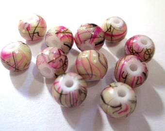 10 beads beige, pink and Brown painted glass 8mm