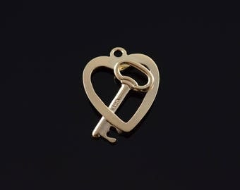 14k Heart Lock and Key Outline Charm/Pendant Gold