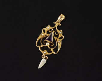 10k Victorian Amethyst Seed Pearl Dangle Pendant Gold