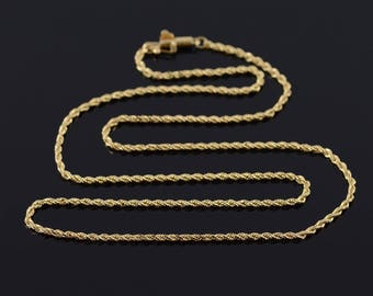 1.4mm Rope Link Chain Necklace Gold