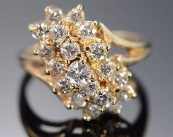 14k 1.80 Ctw Diamond Cluster Ring Gold