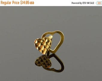 Big SALE 10k Overlapping Heart Cut Out Single Stud Earring Gold