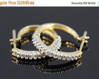Big SALE 14k 0.39 Ctw Diamond Hoop Earrings Gold