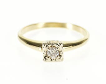 14k 0.12 Ct Diamond Solitaire Squared Engagement Ring Gold