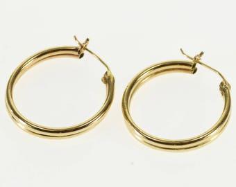 14k Grooved Hollow Tube Hoop Earrings Gold