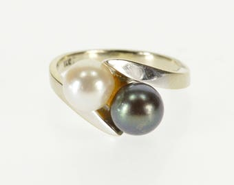 14k White and Tahitian Pear Inset Bypass Ring Gold