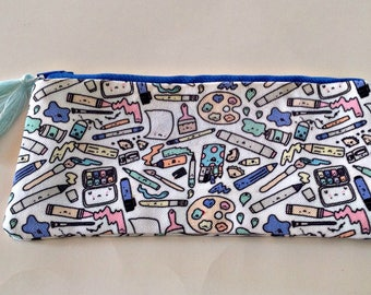 Cosmetic Bag,Pencil Case,Art Supplies Bag,Colorful, Artsy Small Pouch,School Supplies,Art,Unique,Gift for Kids