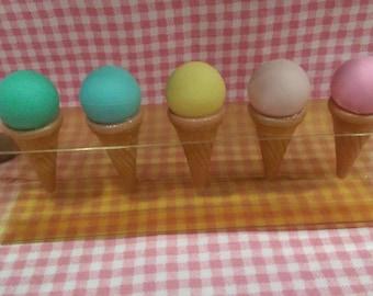 Vintage Eraser,five ice cream with pastel color