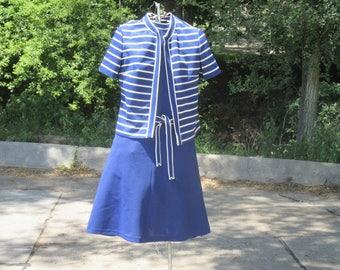 Verona Knits Navy Blue Shift Dress w/Striped Jacket