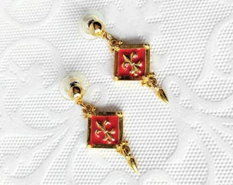 VINTAGE Fleur De Lis Pierced Earrings with Dangle-Gold and Red-All Orders Only .99c Shipping!