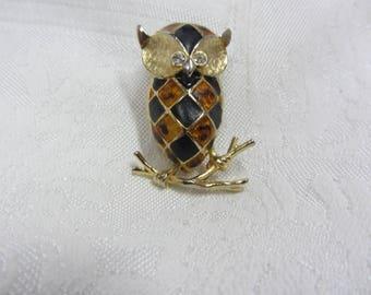Vintage Harlequin Enamel and Gold Tone Owl Brooch