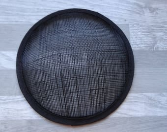 Round base domed black sisal hat or fascinator