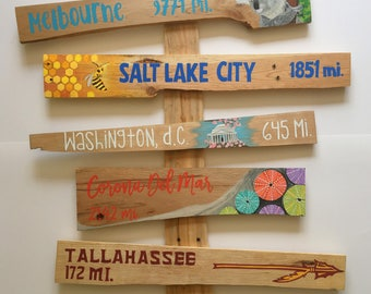 Custom Signpost - Set of 5, arrow sign, arrow signs, directional sign, directional signs, mile marker sign, mileage signs