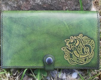 "Leather checkbook cover , celtic design ""sea horse"",  colour ""vert anis""(16 colours available)"