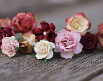 Blush Rose Burgundy Wedding Hair Pins, Rustic Hair Pieces,Small Flower Hair Pins, Bridal Hair Picks Burgundy, Floral Bobby Pins Bridal Hair