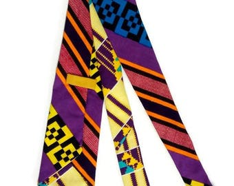 Mens Purple Blue Kente Necktie And Pocket Square, Ankara Mens African Clothing, Gift For Him Dad Wedding Graduation Kente Tie Gift Set