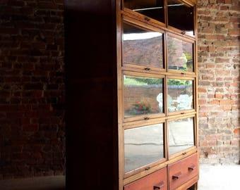 Fabulous Large Mid Century Industrial Haberdashery Cabinet