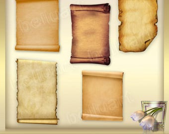 5 Old Paper Scrolls Vol.2 - Old Scrolls - old scroll - scrolls clipart - Old paper clip art - papyrus clipart - Instant Download - png files